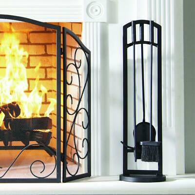 Pleasant Hearth Arched 4-Piece Fireplace Tool Set Shovel Stand