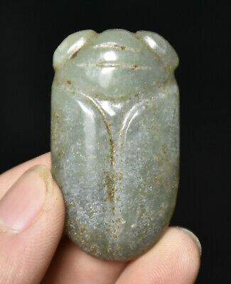 4.5CM Old Chinese Hongshan Culture Jade Carved Cicada Insect Amulet Pendant TS