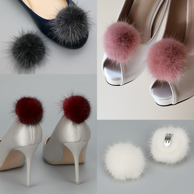 A Pair Mink Fur Pom Pom Shoe Clips Fluffy Ornament Heels Boots Charm Decor UK