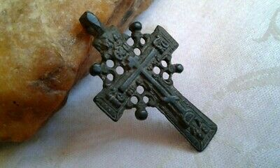 "RARE ANTIQUE c.18-19th CENTURY LARGE ""OLD BELIEVERS"" ORTHODOX ORNATE ""SUN"" CROSS"