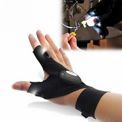 Car Bike Tire Repair Tool Fish Glove LED Light Gear Magic Strap Fingerless Glove