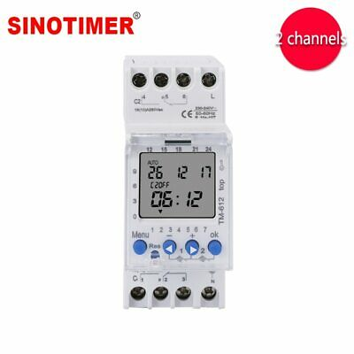 DIN Rail Timer 2 Channels Big LCD Display Programmable 24hrs Time Clock
