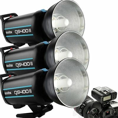 3Pcs Godox QS400II 400W 2.4G Wireless X System Strobe Flash Head + X1T Trigger
