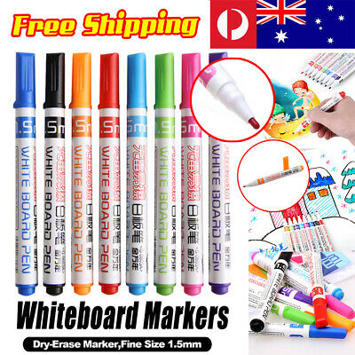 8Colours Whiteboard Markers Pens Dry Erase White Board Bullet Pen Doodle F Child