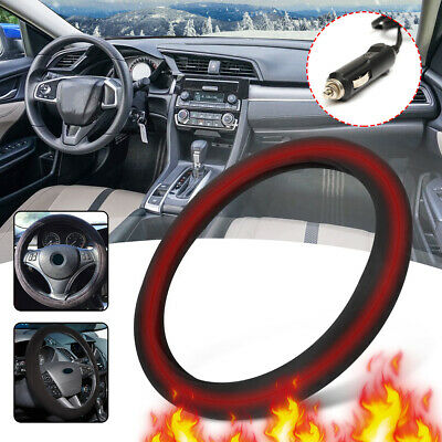 "winter 15"" Suede Heated Steering Wheel Cover Heater  Car Lighter Plug Universal"