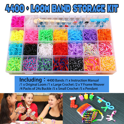 New 4400pcs Loom Bands Storage Case Kit w/ Hooks S Clips Beads Charms OZ