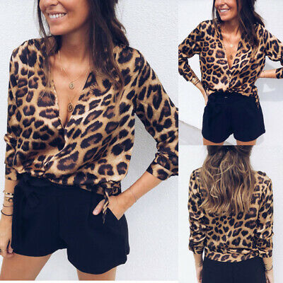Sexy Women Leopard Tops Long Sleeve Casual Pullover Ladies Loose T-shirt Blouse