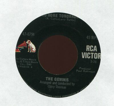 THE GEMINIS No More Tomorrow on RCA Northern Soul 45 Hear