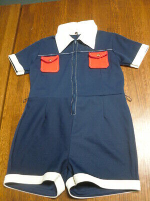 Kmart One Piece Romper Playsuit 1960s Mod Blue White Red Polyester