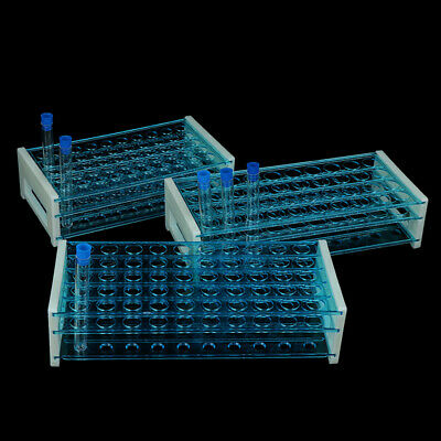 10pcs Plastic Test Tubes Vials with Caps & Pipe Rack Holder Stand 40/50 Holes ZB