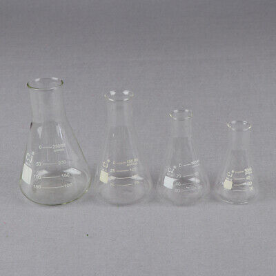 Glass 50-250ml Conical Erlenmeyer Narrow Mouth Flask Lab Glassware ZB