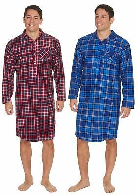 Mens Undercover Thermal Super Soft Checked Nightshirt Red or Blue M-2XL