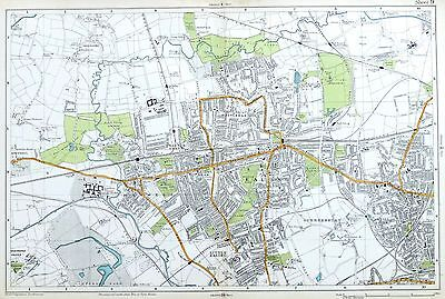 LONDON, 1919 - EALING, ACTON, HANWELL, GREENFORD,  Original Antique Map