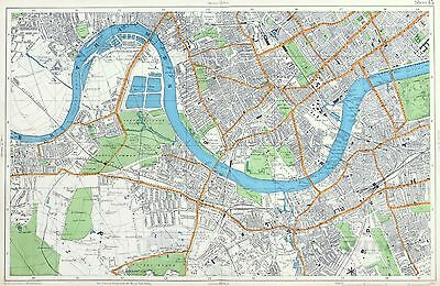 LONDON, 1912 - BARNES, FULHAM, CHELSEA, BATTERSEA, Original Antique City Map.