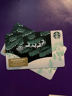 New Release 2019 Winter Holiday Aurora Borealis Reindeer Starbucks Gift Card