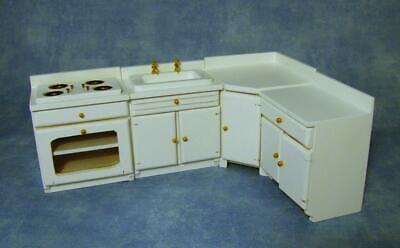 White Kitchen Set, Dolls House Miniatures, Cooker Sink Units 1.12th Scale