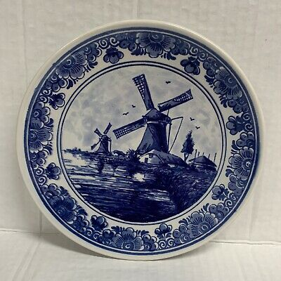 "Delft Blauw Hand Painted Made In Holland 7"" Plate Windmill Blue And White"