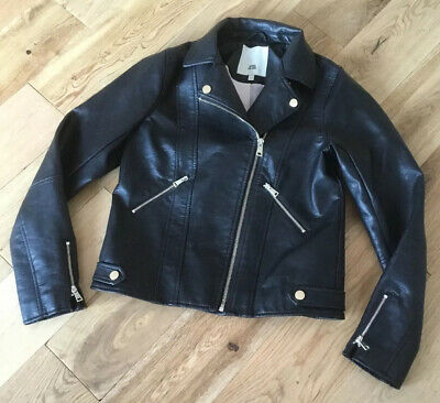 Girls River Island Jacket 11-12 Years Black Biker Faux Leather Good Condition