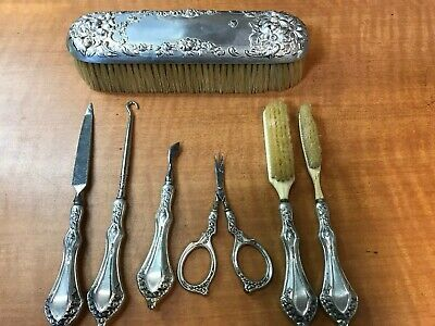 7 Pc Antique Sterling Silver Handle Grooming Set Pieces File Cuticle Tools Brush