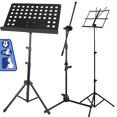 Height Adjustable Music Stand Orchestra Choir Book Holder Tripod Mic Stand