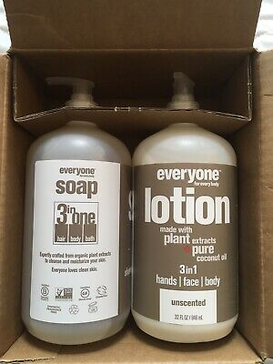 Everyone Soap (shampoo, Body Wash) & lotion combo unscented, 32 oz Each New
