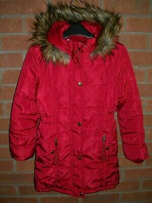 TU Girls Red Fleece Lined Hooded Winter Coat Jacket Age 9-10 Immaculate