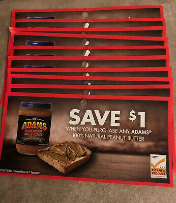 10 Coupons x Save $1 on any Adams 100% Natural Peanut Butter