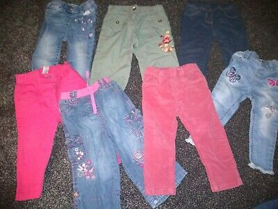 Baby Girls Bundle Of 7 Pairs Of Jeans & Trousers 12-18 Months