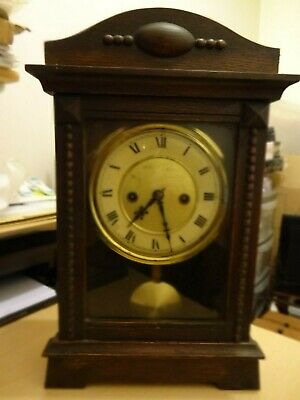 Vintage  Mechanical Hac (German)  Pendulum Mantle Clock With 2 Keys