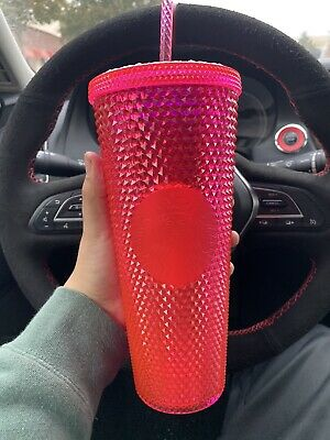STARBUCKS Neon Pink Studded Tumbler WINTER HOLIDAY CUP 2019 24oz Shipping NOW