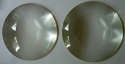 Pair of heavy five inch lenses, believed to be for Victorian stereoscope