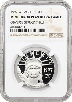 Mint Error: 1997-W Platinum Eagle NGC PR 69 UCAM (Obverse Struck Through)