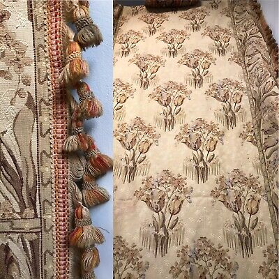 Antique French Chateau Tapestry Curtain c1880s Passmentarie timeworn