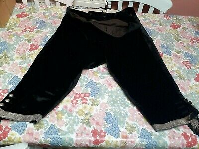 Antique Victorian Trousers Plus Fours Velvet Mohair Theatre Costume Fancy Dress
