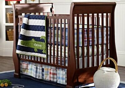 Pottery Barn Kids Madras Plaid Crib Skirt And Bumper Pad