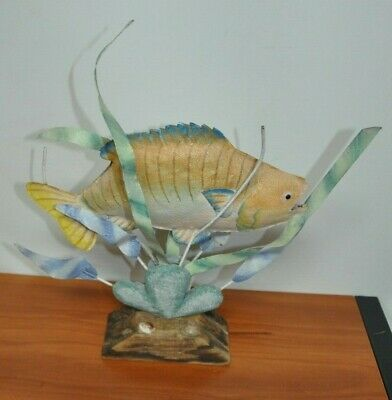 Wood and Metal Fish Sculpture on Wooden Stand, Art Decor