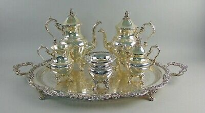 """5pc Goldfeder Silver plated Coffee/Tea Service with 31"""" Footed Gallery Tray"""