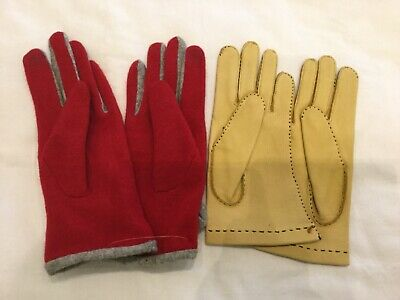 2 Pairs Gloves - Vintage Tan Leather & Red Wool Touch Technology