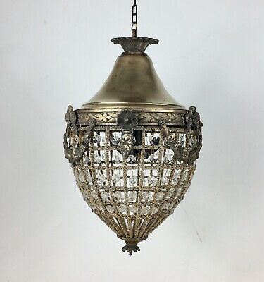 Antique 1920s Brass & Cut Glass Bag Chandelier Ceiling Lamp Light VTG Lighting