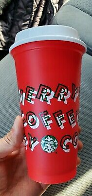 New Starbucks Holiday Christmas 2019 Red Reusable Cup w/Lid. NEW