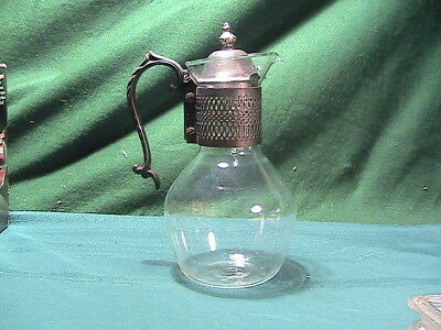 VINTAGE GLASS COFFEE TEA POT CARAFE & SILVER PLATED accents