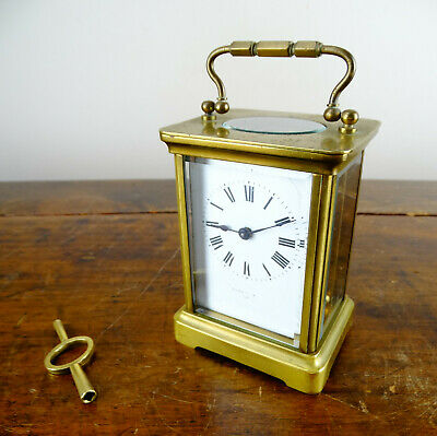 Antique French Brass Travel Carriage Clock Richard & Co 8 Day Jeweled Movement
