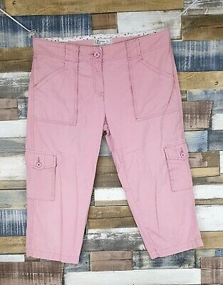 Fat Face Ladies Pink Cotton Cropped Trousers Size UK 12 W34 L20