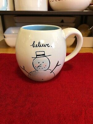 Rae Dunn Snowman Mug. Believe Let It Snow - NEW WITH TAGS.