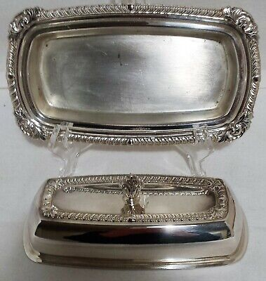 ONEIDA LTD SILVERPLATE BUTTER DISH w/LID and GLASS LINER ORNATE DESIGN