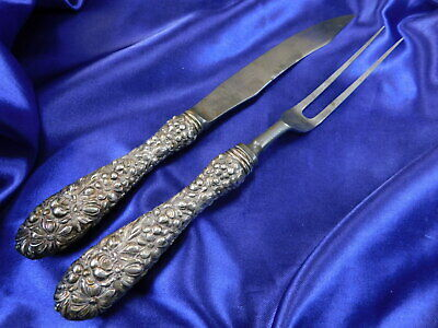 Stieff Repousse Sterling Silver Carving Set - Good Condition St