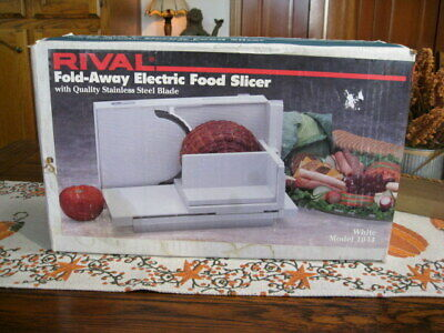 RIVAL MODEL 1044 Fold-Away Electric Food Meat Slicer ~ SS Blade ~ New in Box