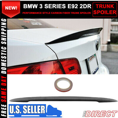 07-13 BMW 3 Series E92 2Dr Coupe P Style High Kick Carbon Fiber CF Trunk Spoiler