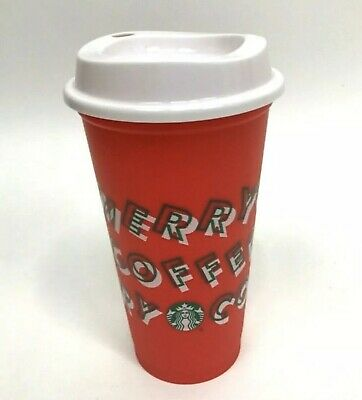 Starbucks 2019 Holiday Reusable Red Cup Grande 16 oz Merry Coffee! ON HAND!