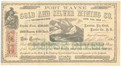 R23c, R41a on 1863 Fort Wayne Gold Mining Co. Nevada Territory Stock Certificate